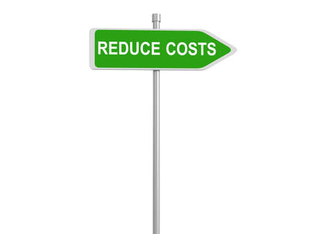 spending: Reduce cost road sign, budget cuts reduce costs and cut spending during crisis or economic recession, 3d illustration