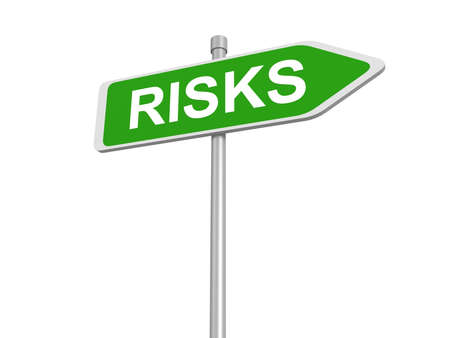 risk analysis: Risks road sign, risk assessment or risks management and analysis benefit cost and security and safety hazard, 3d illustration