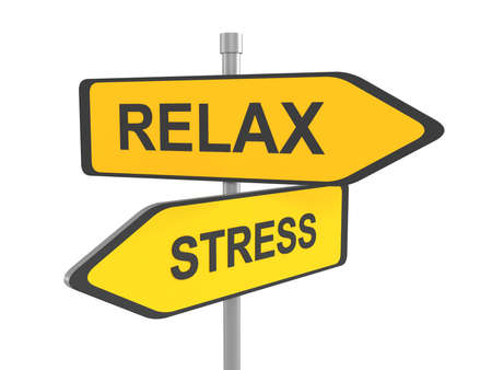busy street: Relax and stress, relax or stress road sign, 3d illustration