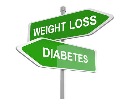 dieting: Weight loss or diabetes road sign, weight loss or diabetes prevention and treatment overweight diet for diabetic adults and children dieting helps fighting this sickness, 3d illustration