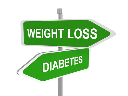 helps: Weight loss or diabetes road sign, weight loss or diabetes prevention and treatment overweight diet for diabetic adults and children dieting helps fighting this sickness, 3d illustration