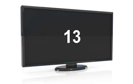 LCD tv with 13 on screen, 3d illustration