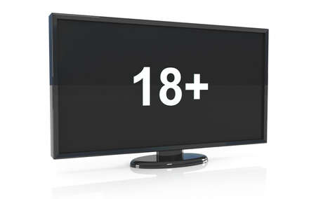 under surveillance: lcd tv with 18 on screen, 3d illustration Stock Photo
