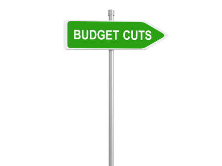 recession: Budget cuts road sign, traffic sign, budget cuts reduce costs and cut spending during crisis or economic recession, 3d illustration