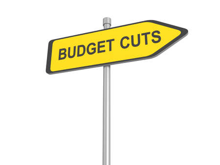 recession: Reduce cost road sign, budget cuts reduce costs and cut spending during crisis or economic recession, 3d illustration