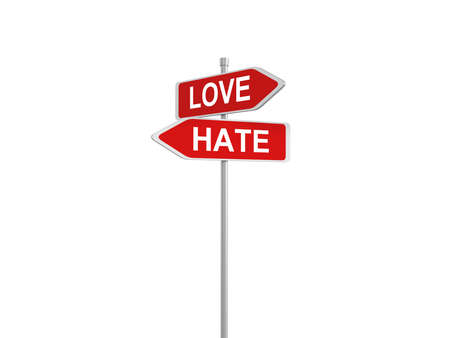 hate: Two road signs, love and hate choice, 3d illustration