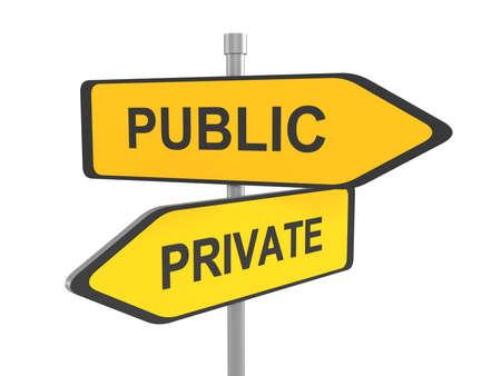 private domain: Private or public road sign, 3d illustration Stock Photo