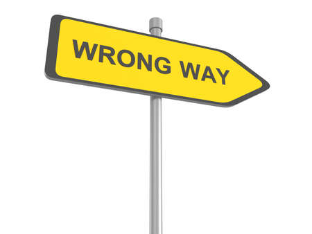 mistake: wrong way making a mistake error warning sign alert for danger lost way off track incorrect choice of direction do not enter red road sign arrow, 3d illustration