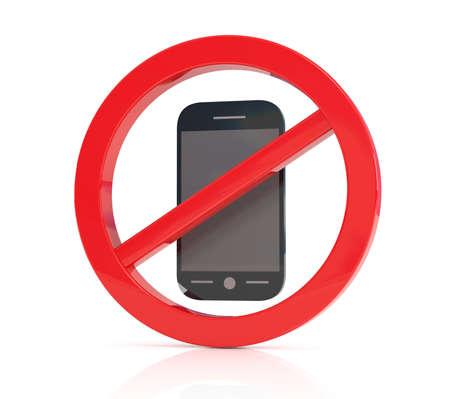 No phone sign, 3d illustration