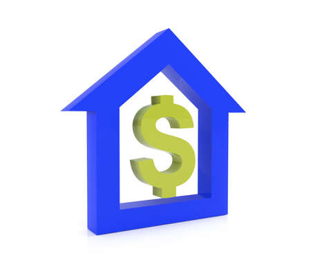 lending: House buying for money concept with dollar sign, 3d render Stock Photo
