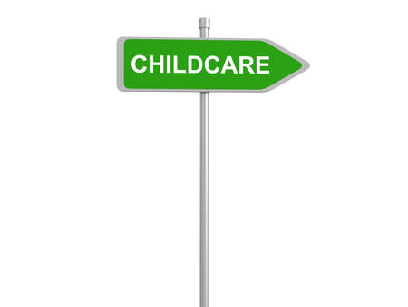 child care: child care, road sign 3d illustration