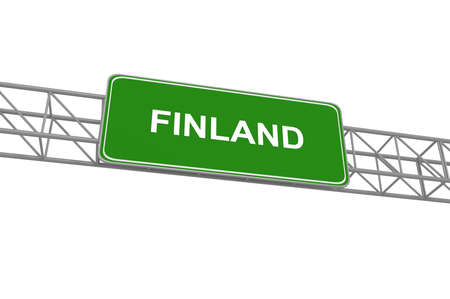 finland: Finland road sign, 3d illustration