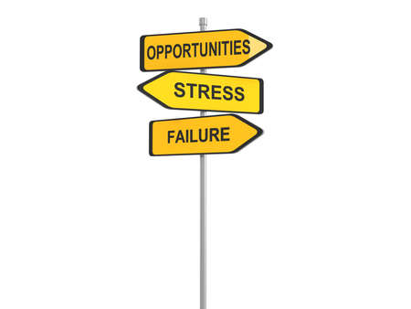 opportunity sign: Road sign of text failure stress and opportunity, 3d illustration