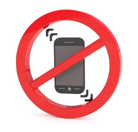 refrain: No phone sign, Put Phones on Vibration, 3d illustration Stock Photo