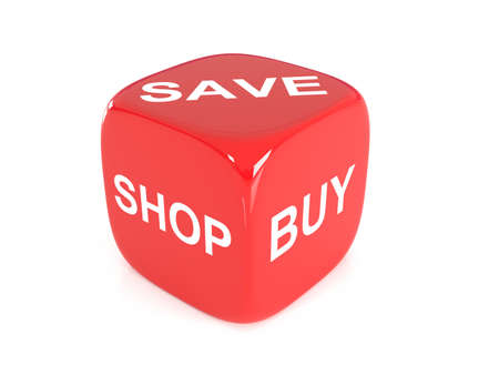 red dice: Red Dice with words Shop, Buy, Save on faces, 3d illustration Stock Photo