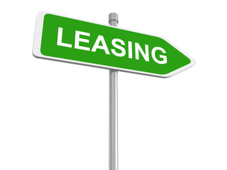 leasing: Leasing. Road sign on the white background, 3d illustration