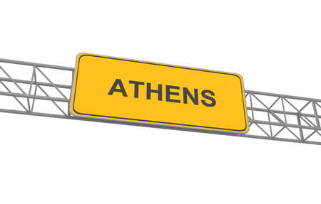 athens: Road sign Athens, 3d illustration Stock Photo