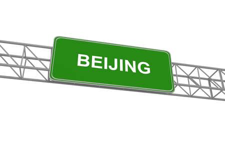 multiple lane highway: Road sign Beijing, 3d illustration