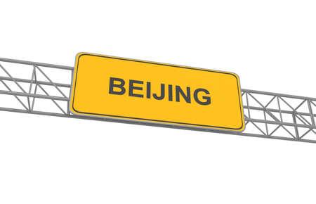 Road sign Beijing, 3d illustration
