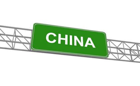 Road sign China, 3d illustration