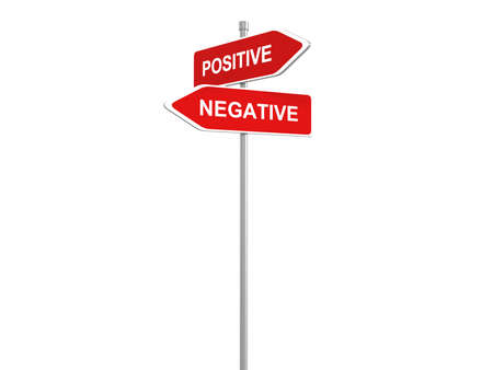 Positive or negative thinking, pessimistic or optimistic view, road sign, 3d illustration