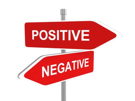 positivismo: El pensamiento positivo o negativo, pesimista u optimista, señal de tráfico, ilustración 3d