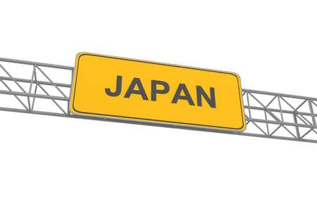 multiple lane highway: Japan road sign, 3d illustration