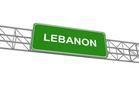 highway sign: Lebanon road sign, 3d illustration Stock Photo