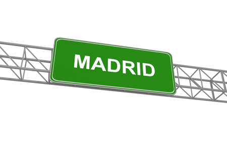 madrid: Road sign Madrid, 3d illustration