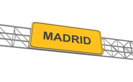 multiple lane highway: Road sign Madrid, 3d illustration