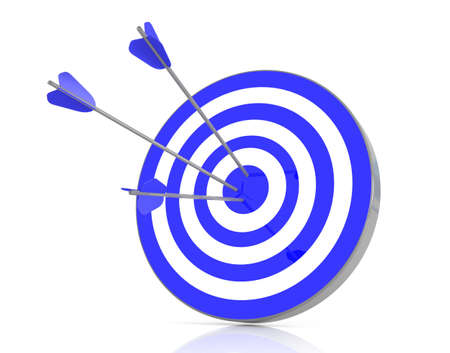 couching: Blue target with 3 arrows in the bullseye, 3d illustration