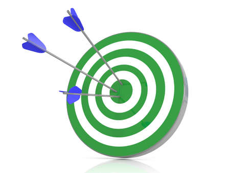 couching: Green target with 3 arrows in the bullseye, 3d illustration