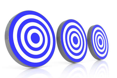 couching: three blue target, 3d illustration Stock Photo