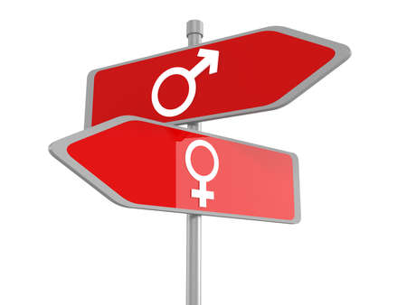 passing the road: Male and female signs on road sign, vector Stock Photo
