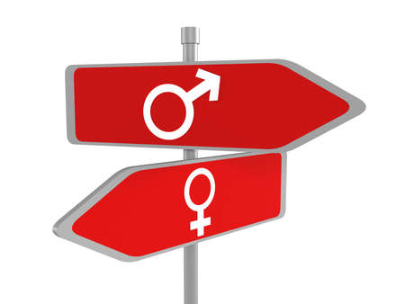 Male and female signs on road sign, vector Stock Photo