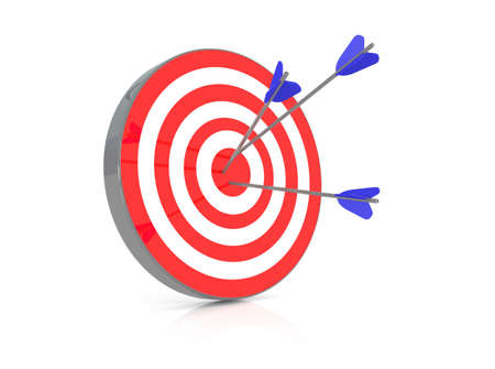 couching: Red target with 3 arrows in the bullseye, 3d illustration Stock Photo