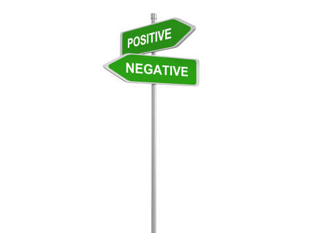 positivism: Positive or negative thinking, pessimistic or optimistic view, road sign, 3d illustration