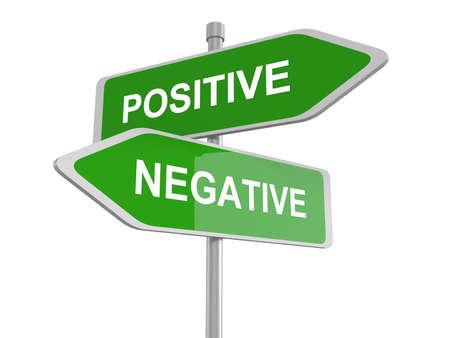 positivism: El pensamiento positivo o negativo, pesimista u optimista, se�al de tr�fico, ilustraci�n 3d