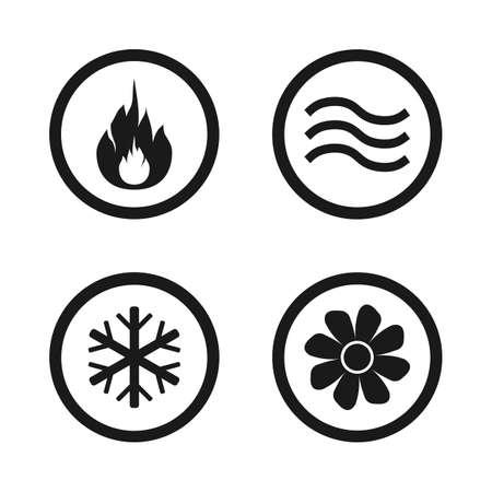 Heating, ventilating and air conditioning symbols, water supply, climate control technology signs, HVAC icons, vector