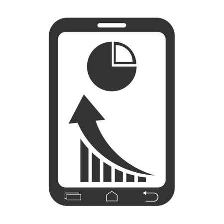 mobile phone icon: Market Status On mobile Phone Icon Illustration