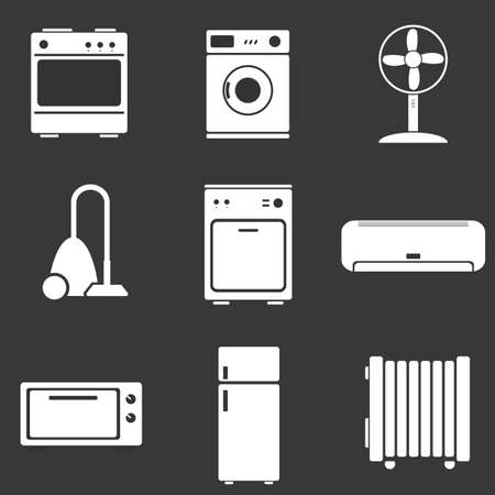 home appliance: Home appliance set icons Illustration