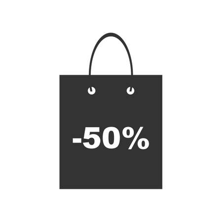 Shopping bag with discount symbol, icon