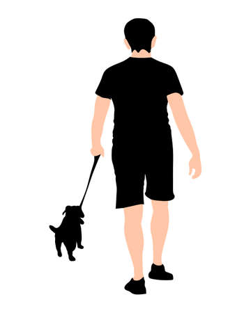 poser: illustration of a young man and dog