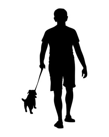 illustration of a young man and dog
