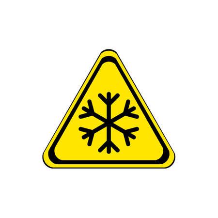 ice surface: Snow yellow warning sign Illustration