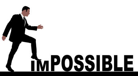 stepping: Concept conceptual human man or businessman as black silhouette stepping over impossible or possible text