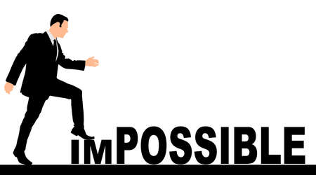 Concept conceptual human man or businessman as black silhouette stepping over impossible or possible text