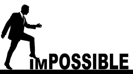 possible: Concept conceptual human man or businessman as black silhouette stepping over impossible or possible text
