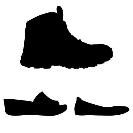 shoes silhouettes, vector
