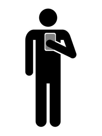 Symbol of man using cellphone, Icon